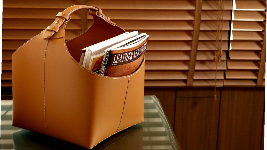 Leatherworld Middle East Fibretech leather basket bag with magazines